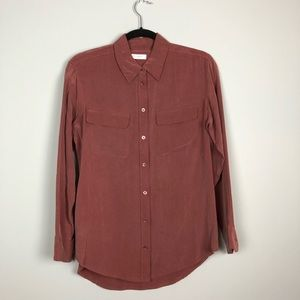 Equipment Dusty Red Silk Blouse - Size Small